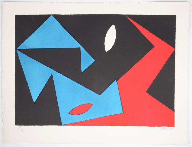 """""""Compositie"""". Een lithografie. Gesigneerd, genummerd op 68/99 en respectievelijk gedateerd '50."""