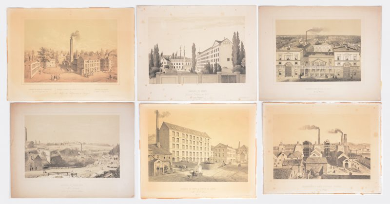 Een reeks van vijf losse lithografieën uit de reeks 'Belgique Industrielle', met XIXe eeuwse zichten op bekende industriële bedrijven. Ed. Simonau & Toovey.