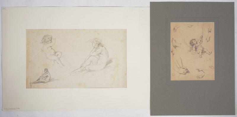 Een potloodstudie van een putto en handen en voeten en een andere van Sappho met putto in een boot. Beide gesigneerd en gedateerd '74, '89 & '83.