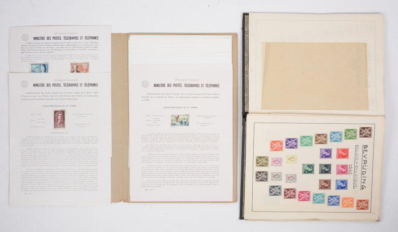 Lot postzegels: bijna alle Belgische reeksen en speciale uitgaven tussen 1941 en 1945 (ook reeks TBC 1939), evenals Frankrijk 1955 (30 zegels, Rotary manco), reeks Olympiade Nederland 1928 (8 zegels), reeksen Helden en Kameraadschap, Deutsches Reich 1939, 1943/1944 (43 zegels).