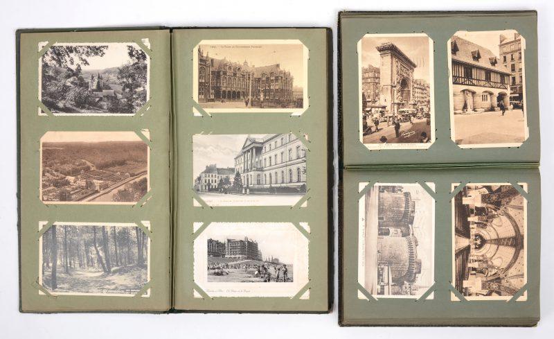 Twee oude albums met prentkaarten, verstuurd tussen 1906 en 1948, met landschappen en stadszichten uit België, Frankrijk, Italië, Engeland e.a. Meer dan 300 stuks.