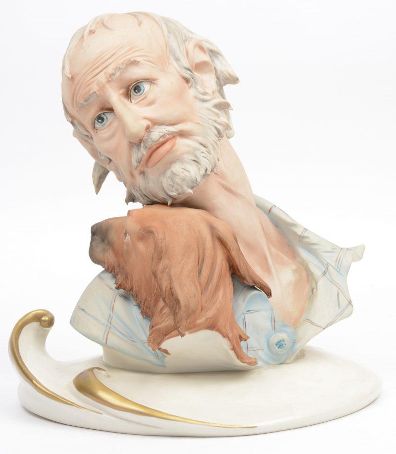 """""""Man met hond"""". Een beeld van meerkleurig biscuit. Onderaan gemerkt en achteraan gesigneerd 'Tosca'. Gaaf."""