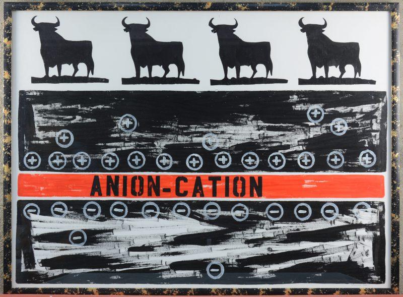"""""""Anion - Cation"""". Een lithografie. Gesigneerd en gedateerd 2000 buiten de plaat."""