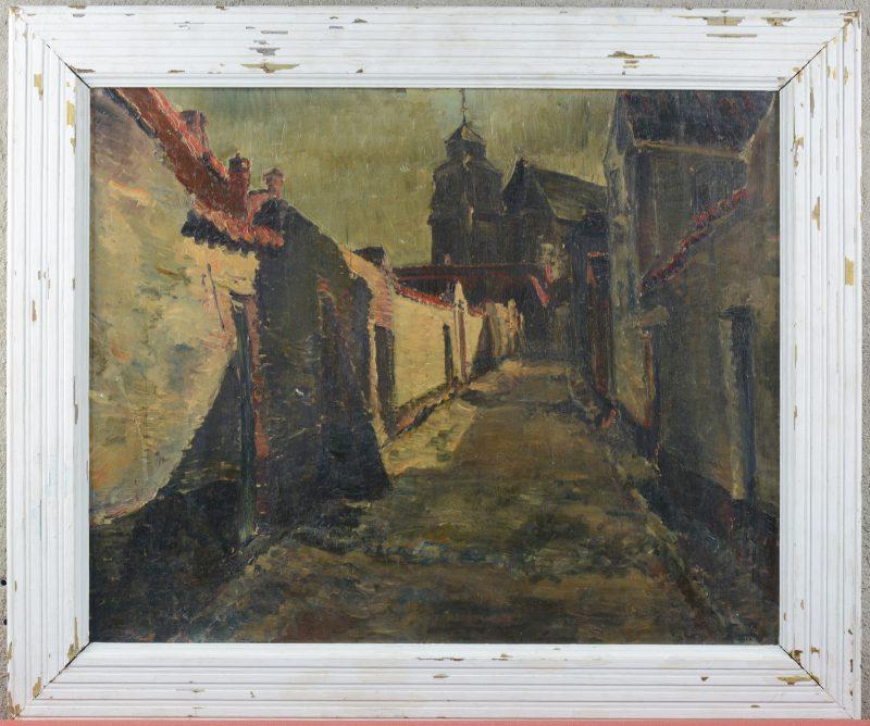 """""""Straatzicht"""". Olieverf op paneel. Gesigneerd en gedateerd 1925."""