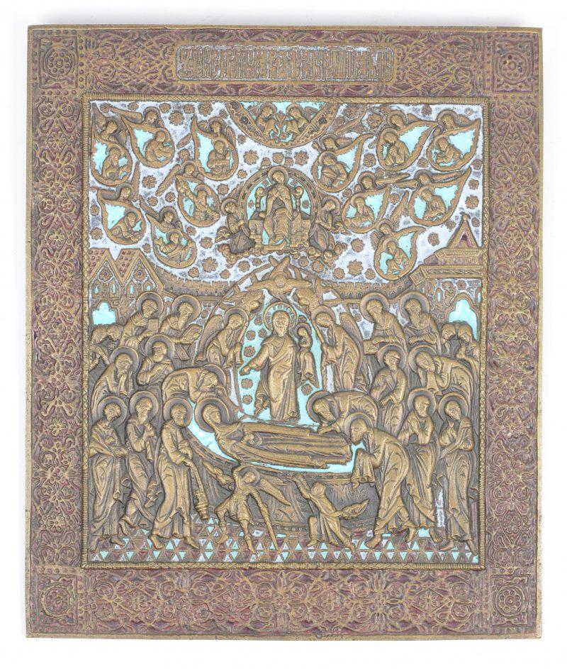 """""""De Dormitie van de Moeder Gods"""". Bronzen icoon met lichtblauw email."""