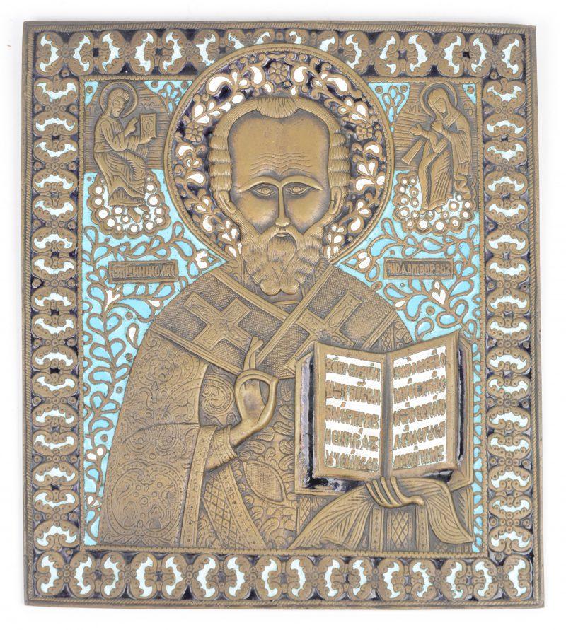 """""""Sint Nicolaas"""". Bronzen icoon met lichtblauw email."""