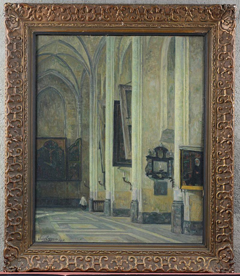 """""""Kerkinterieur"""". Olieverf op paneel. Gesigneerd en gedateerd 1925."""