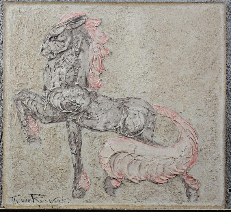 """Paard"". Olieverf op paneel in impasto-techniek. Gesigneerd."