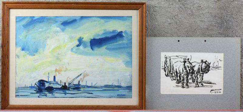 """""""Havenzicht"""" & """"Natiepaarden"""". Twee werken op papier, het eerste aquarel, het andere inkt. Beide gesigneerd en het tweede gedateerd 26_9-56."""