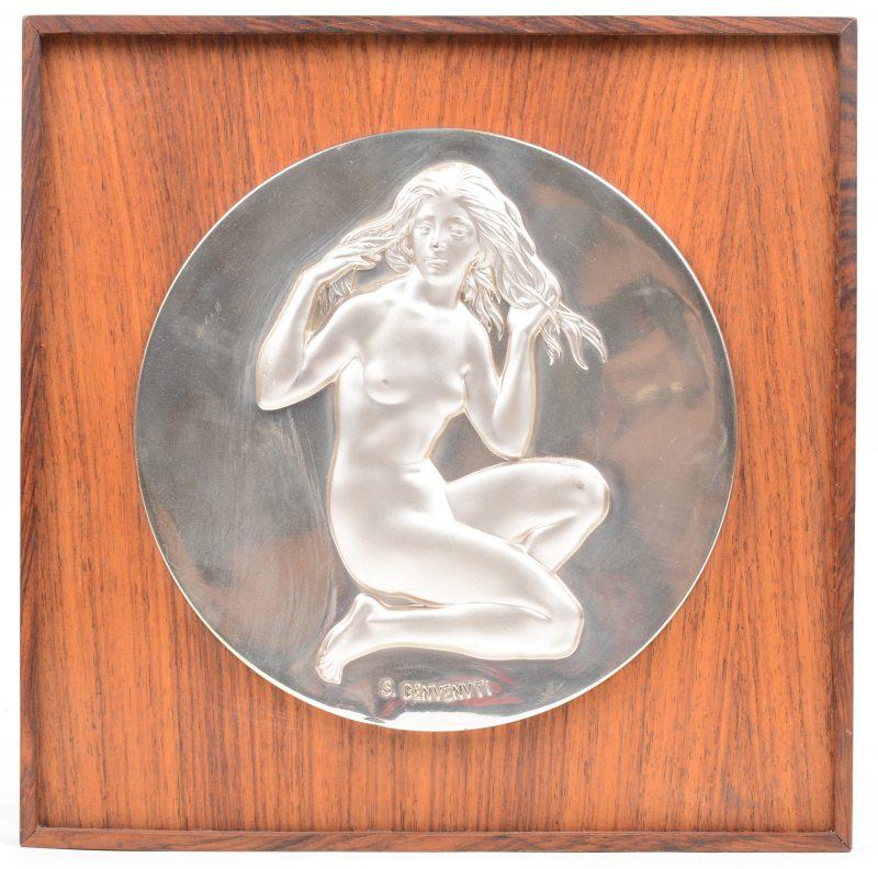 Een zilveren medaille. Gesigneerd. Uitgave van de Franklin Mint.