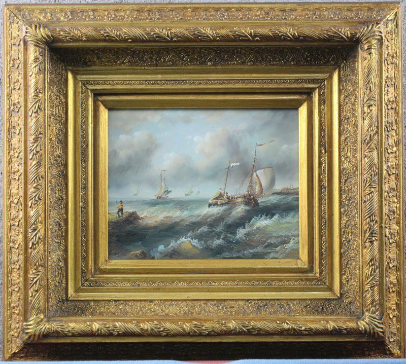 """""""Hollands kustzicht met schepen op ruwe zee"""". Olieverf op paneel in de geest van de XVIIe eeuw."""