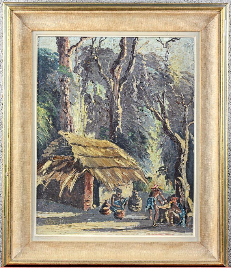 """""""Personages bij een hut in het oerwoud"""". Olieverf op doek. Gesigneerd."""