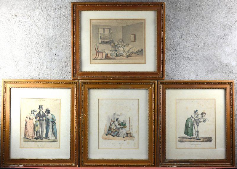 """Vier ingelijste en ingekleurde prenten. Drie uit de reeks """"Scènes de Société"""" door Edme Jean Pigal en één andere. XIXde eeuw."""
