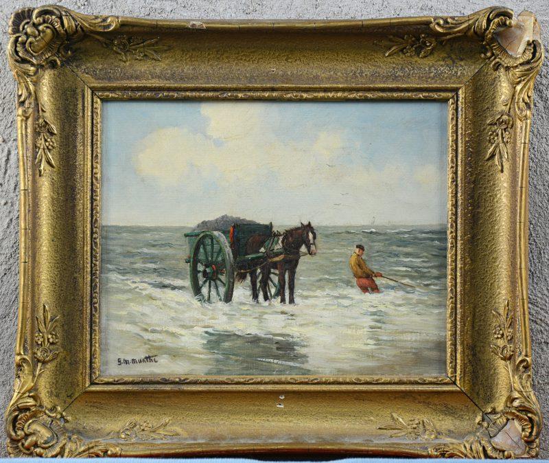 """Garnalenvisser met paardenkar"". Olieverf op doek. Draagt handtekening 'Munthe'."