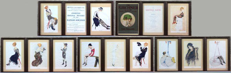 Een reeks van veertien reproducties naar werken van Raphal Kirchner. Engels werk. Met ingekaderde flyer van de tentoonstelling.