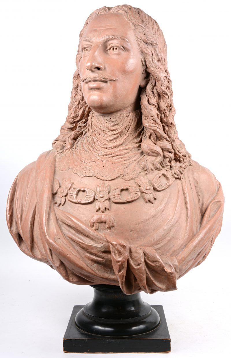 """""""Charles X"""". Een terracotta buste."""