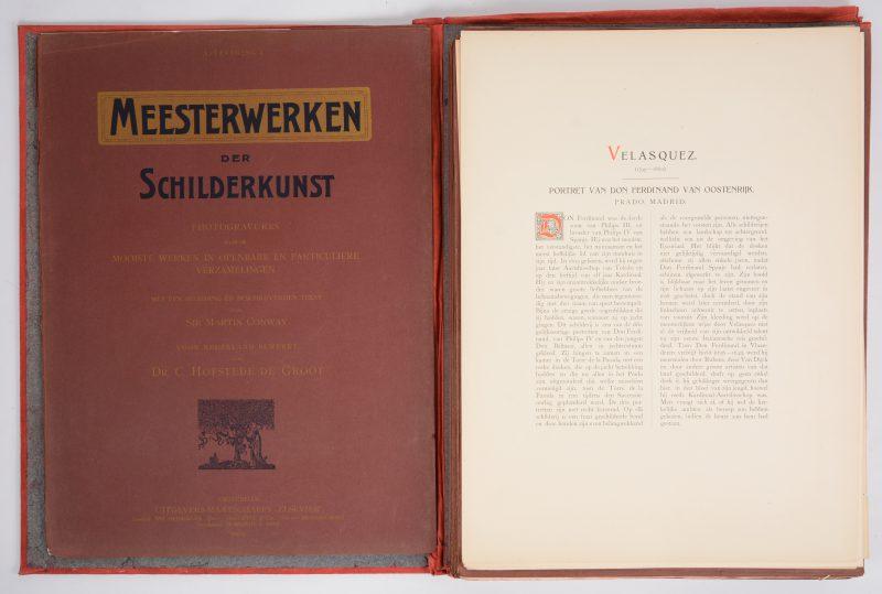 """""""Meesterwerken der schilderkunst"""". Een kunstmap met fotogravures van bekende kunstwerken met beschrijvende teksten. Ed. Elsevier. Amsterdam, 1904."""