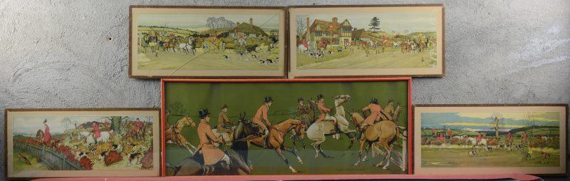 Een reeks van vier litho's met jachtscènes naar werken van Harry Eliott en een grotere naar Dorothy Hardy. Twee met gebarsten glas.
