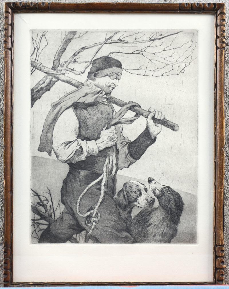 """""""Man met honden"""". Een lithografie. Gesigneerd in de plaat."""