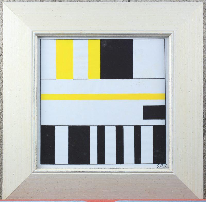 """""""Compositie in zwart en geel"""". Inkt en aquarel op papier. Draagt een monogram 'E.B. en 1960."""