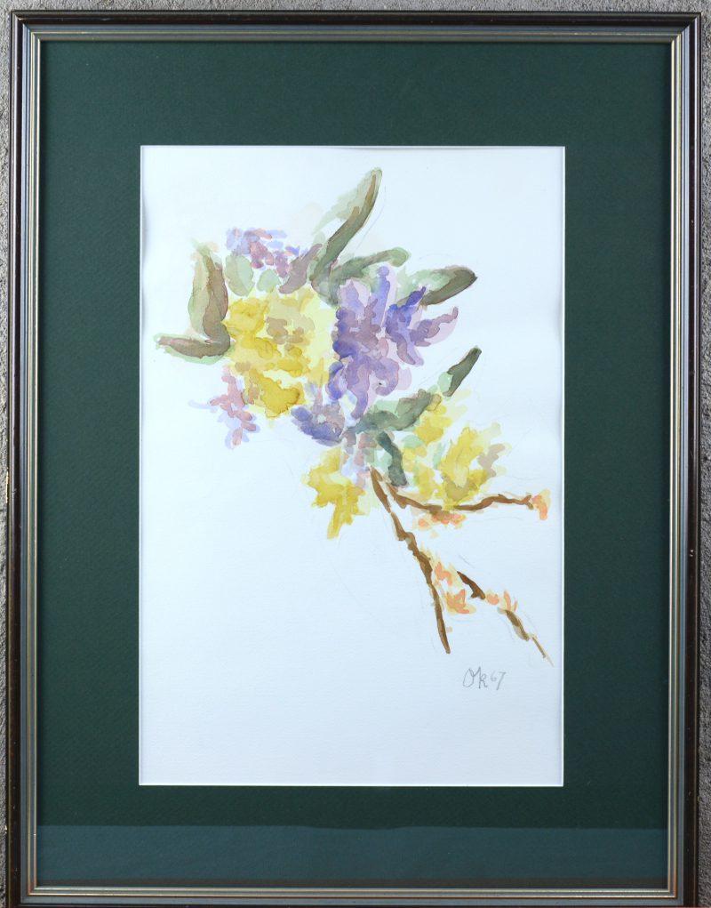 """""""Bloemenstilleven"""". Aquarel op papier. Draagt een monogram 'O.K.' en 1967."""