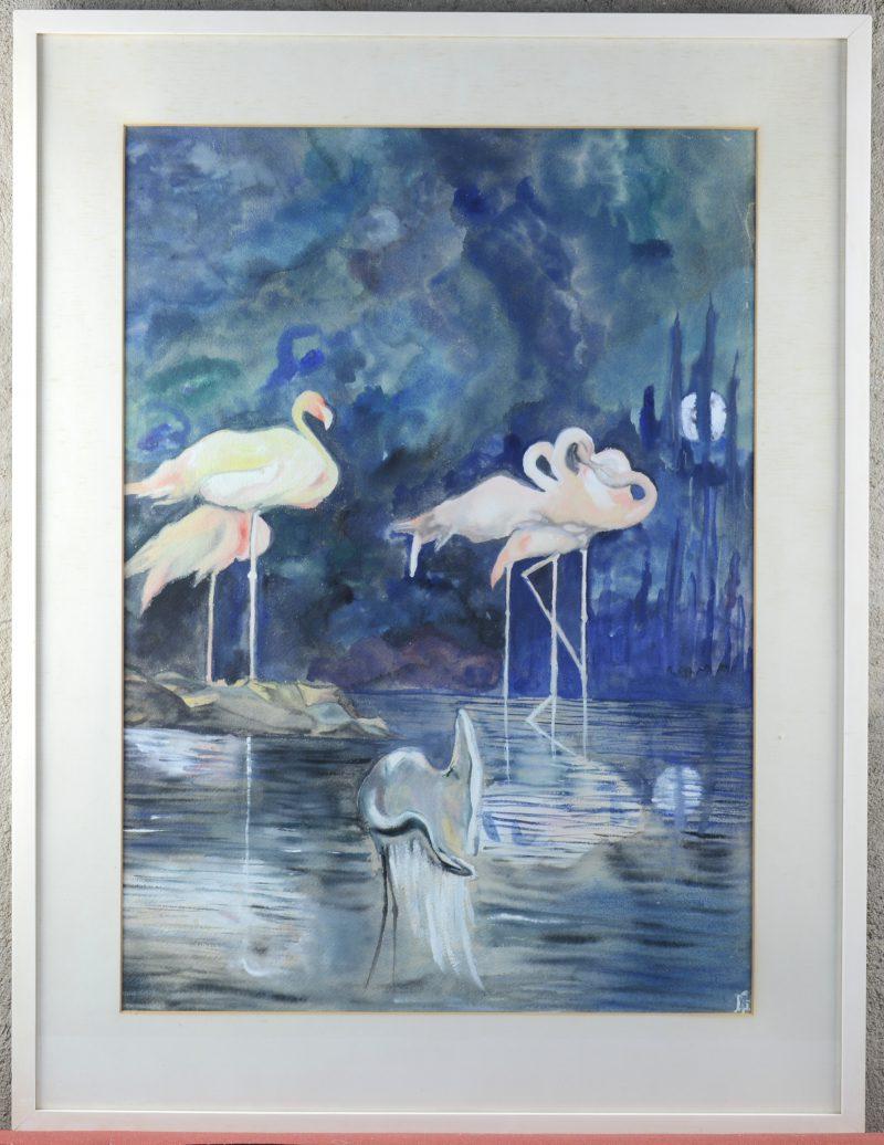 """""""Flamingo's"""". Aquarel op papier. gemonogrammeerd 'SS'."""