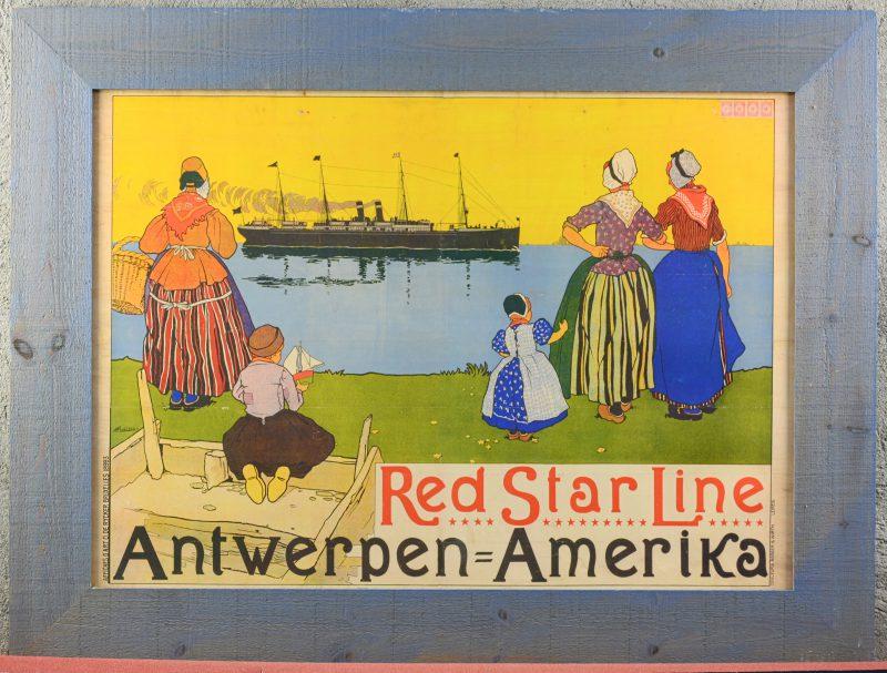 Een reproducties van affiche van de Red Star Line naar Henri Cassiers.