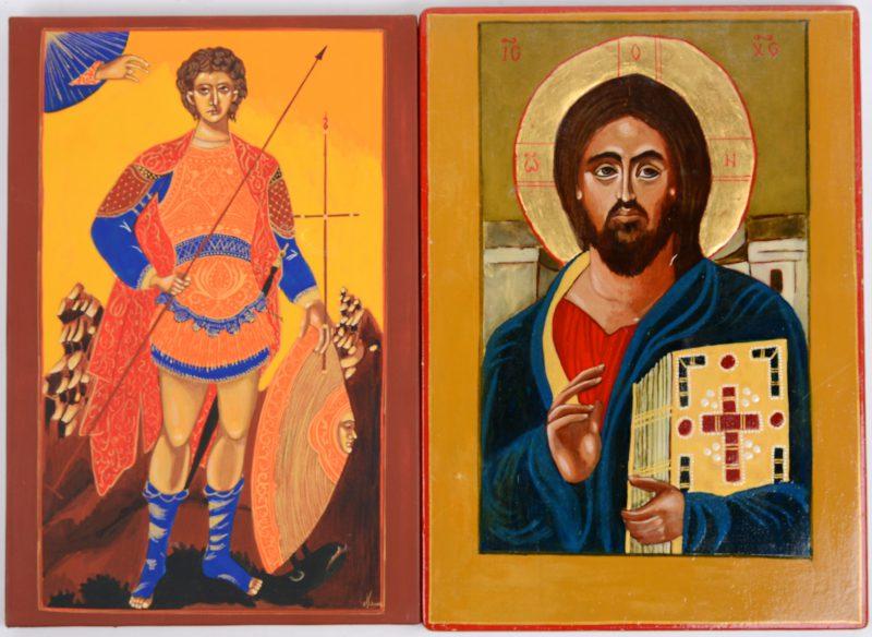 Twee iconen: Christus Pantocrator en de Aartsengel Michael. Recent werk.