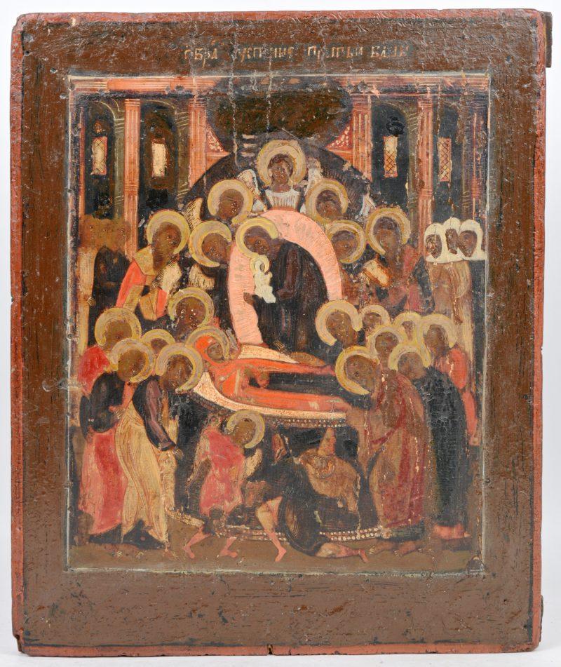 Oude Russische icoon met de Bewening van Maria. In de XIXde eeuw bijgeschilderd.
