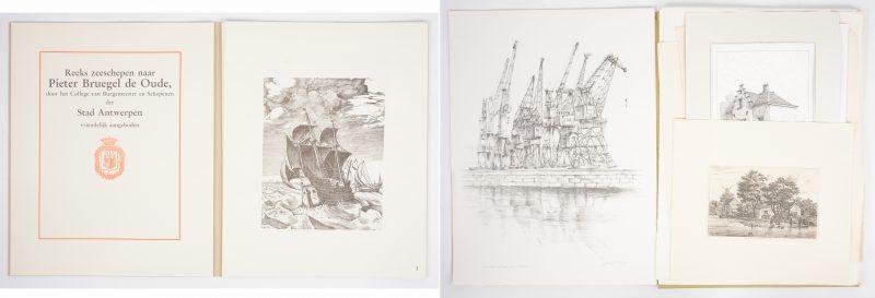 Een lot los grafiek, bestaande uit een groot aantal etsen en gravures met betrekking tot Antwerpen en een map met een reeks zeeschepen naar Pieter Bruegel de Oude, uitgegeven door de Stad Antwerpen.