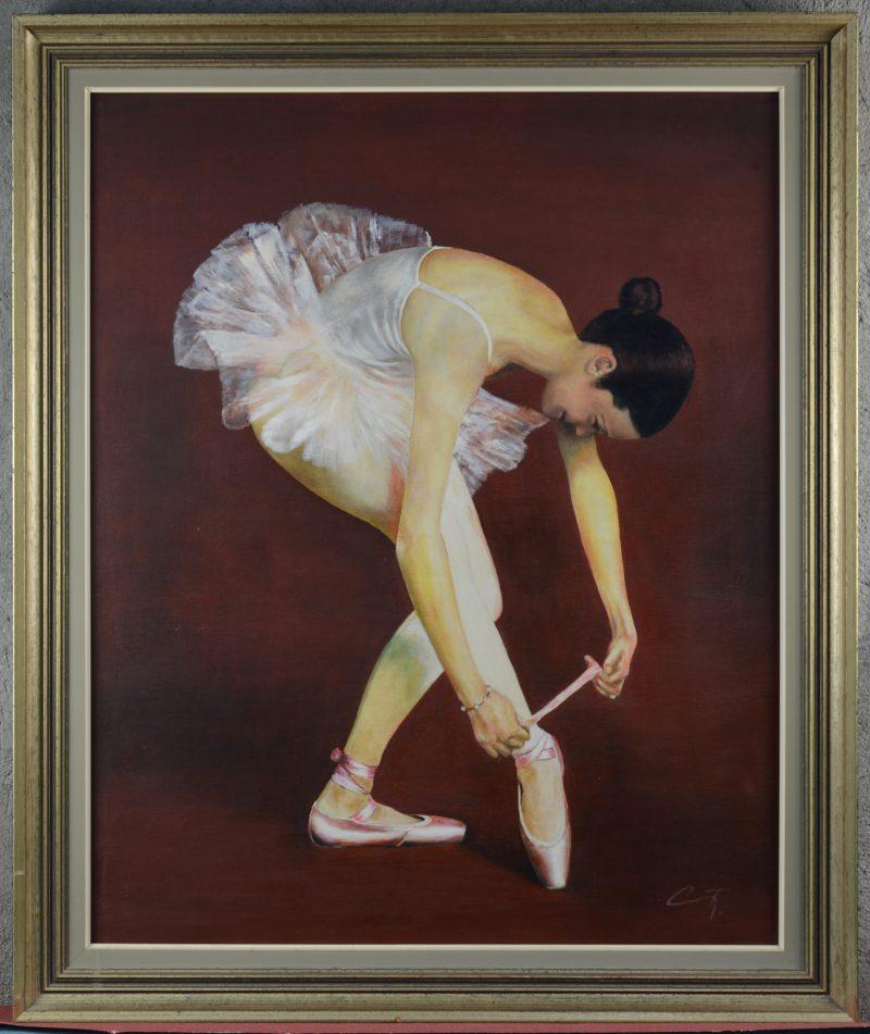 """""""Ballerina"""". Olieverf op doek. Gemonogrammeerd C.T."""