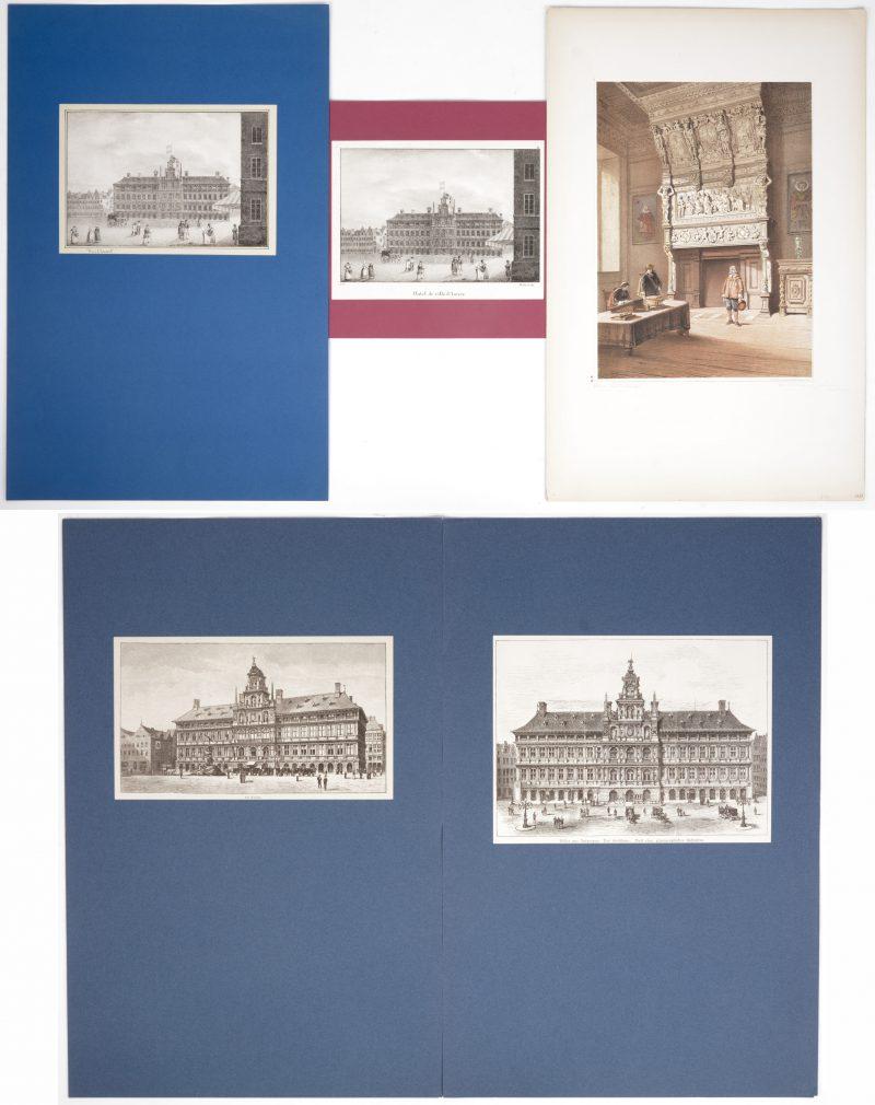 Een lot van vijf gravures met betrekking tot het Antwerpse stadhuis, bestaande uit vier buitenzichten en een interieur van de trouwzaal.