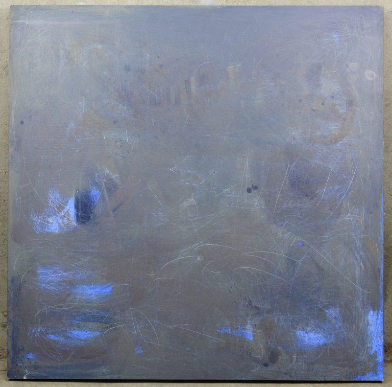 """""""Compositie in grijsblauw"""". Olieverf op paneel."""
