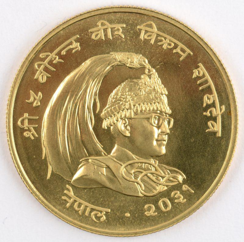 "1 gouden munt van 1000 rupees, ""Conservation"". Verso: Rhinoceros. Au 900/1000. Nepal."