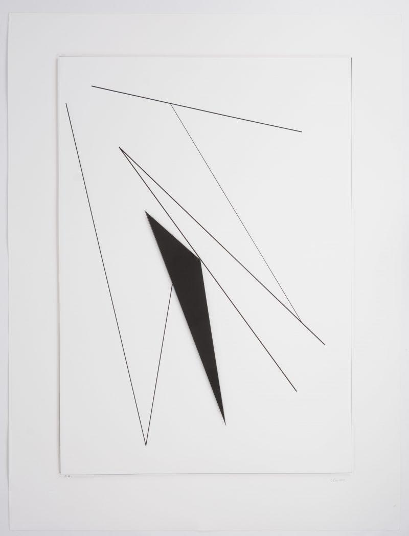 """""""Geometrische compositie"""". Een seriegrafie. Handtekening en aanduiding épreuve d'artiste buiten de plaat. Met droogstempel van Galerie-F, Kranenburg."""