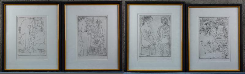 Een reeks van vier etsen. Allen gesigneerd 'Picasso' en genummerd op 200 exemplaren buiten de plaat.
