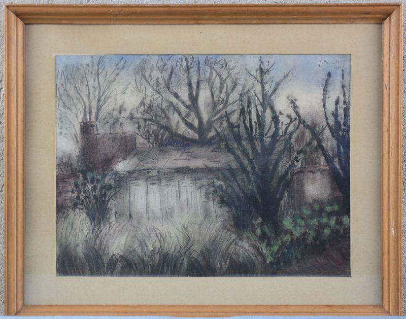 """""""Huis tussen de bomen"""". Aquarel op papier. Gesigneerd en gedateerd 1950."""