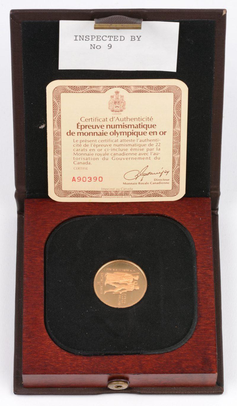 """1 gouden munt van 100 CAD """"Olympiade"""". Au 22 K. Canada 1976. In etui met certificaat."""