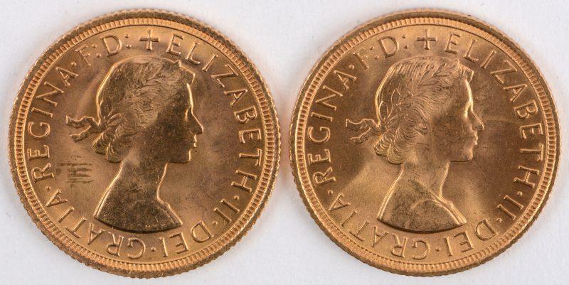 2 gouden munten Gold Sovereign met jonge Elisabeth II. Au 917/1000. Groot-Brittannië, 1959 en 1967.