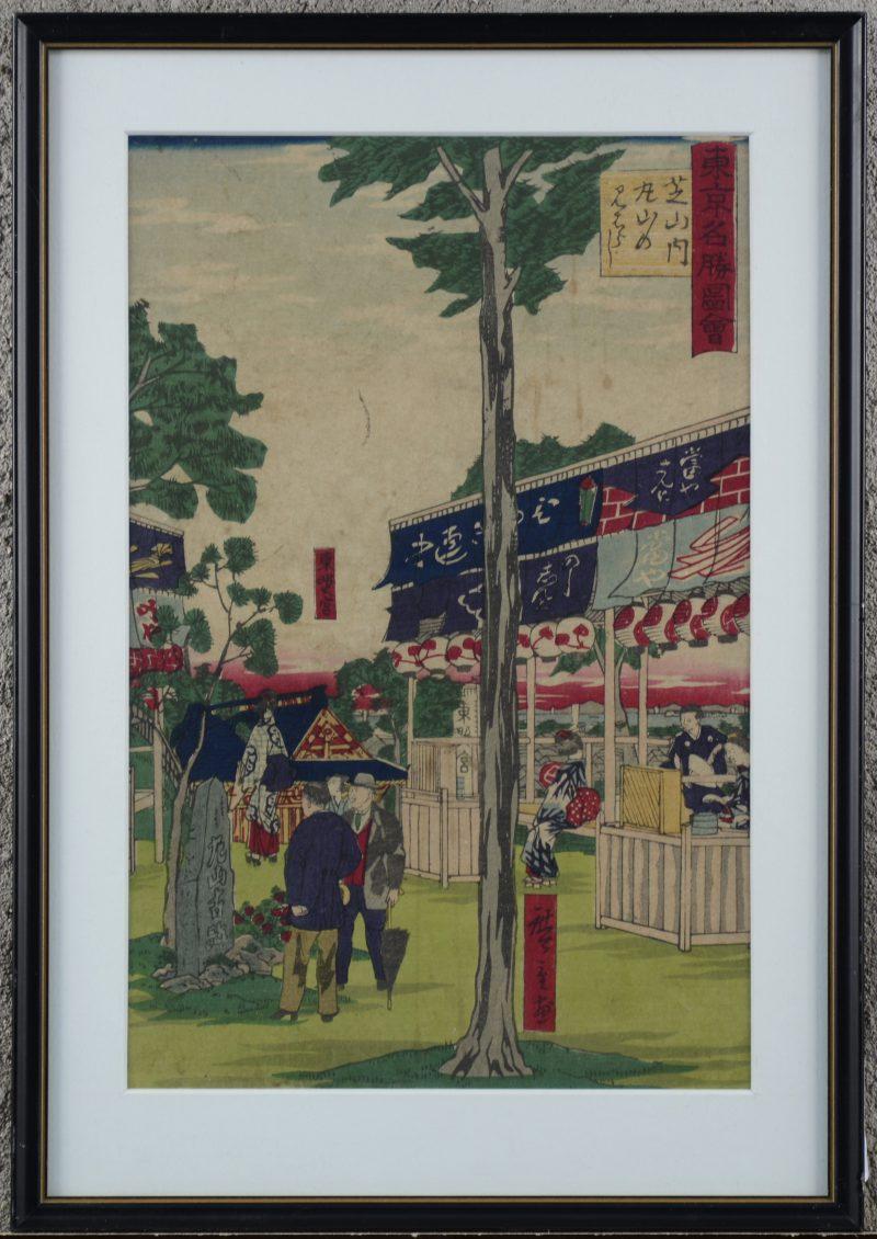 """""""Marktscène"""". Een gekleurde Japanse houtsnede. Gesigneerd. Tweede helft XIXe eeuw."""