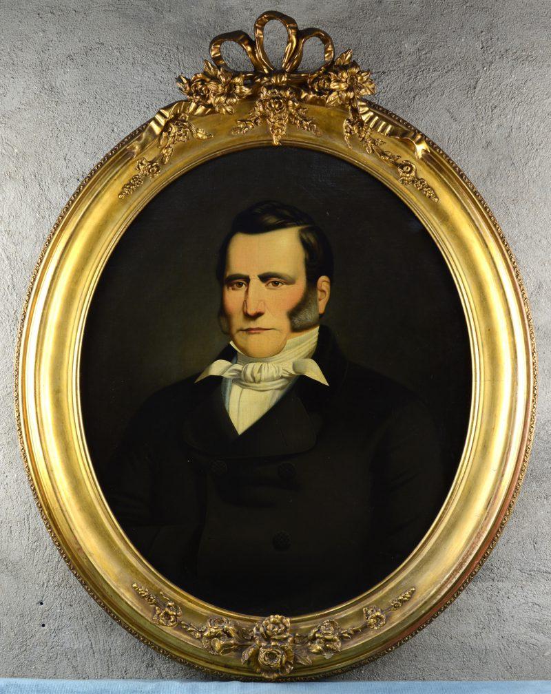 """""""Herenportret"""". Ovaal doek. XIXde eeuw."""