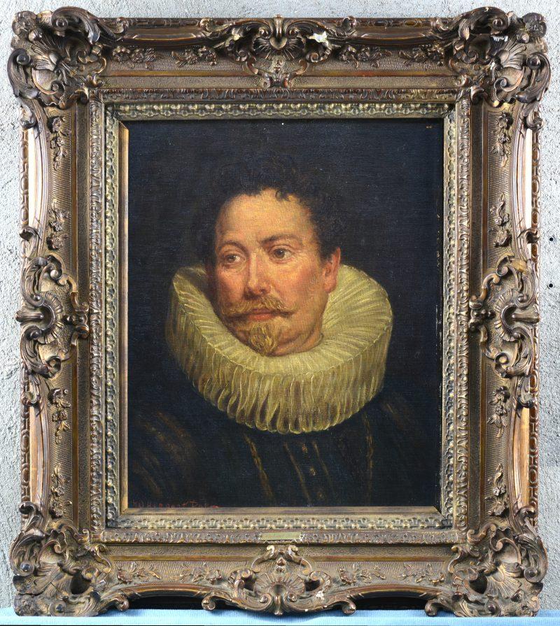 """""""Herenportret naar de XVIIde eeuw"""". Doek. XIXde eeuw."""