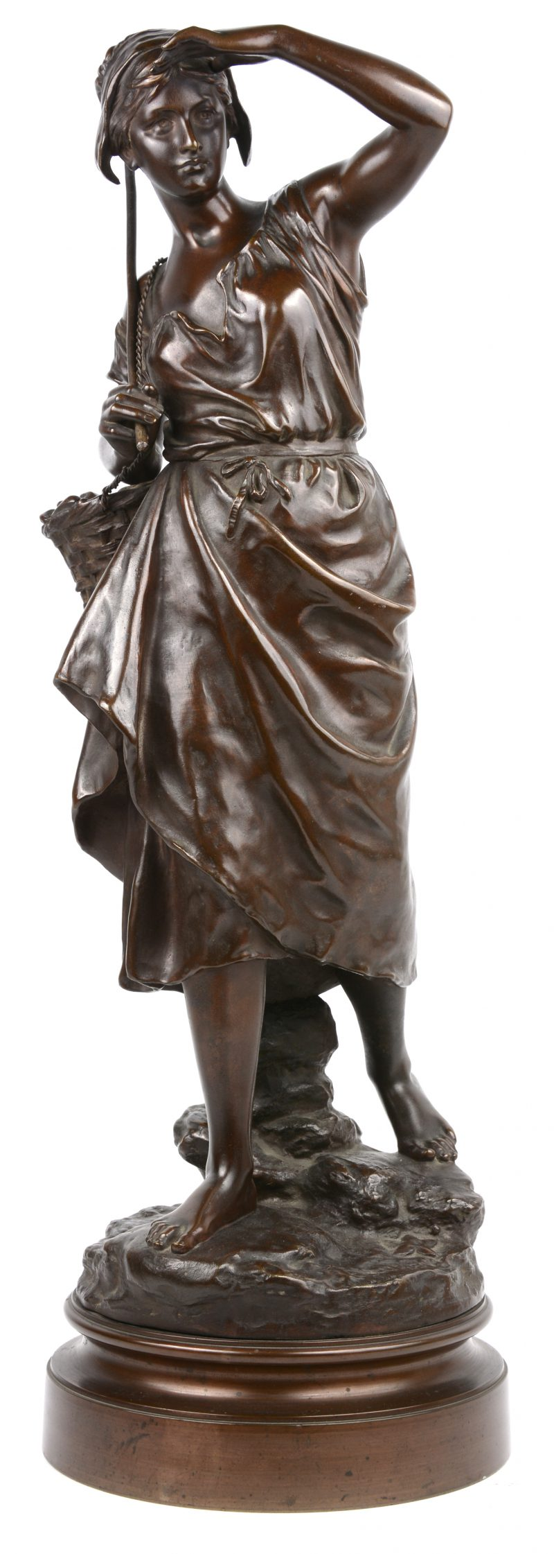 """""""La pêcheuse"""". Een bronzen beeld met bruin patina. Gesigneerd."""