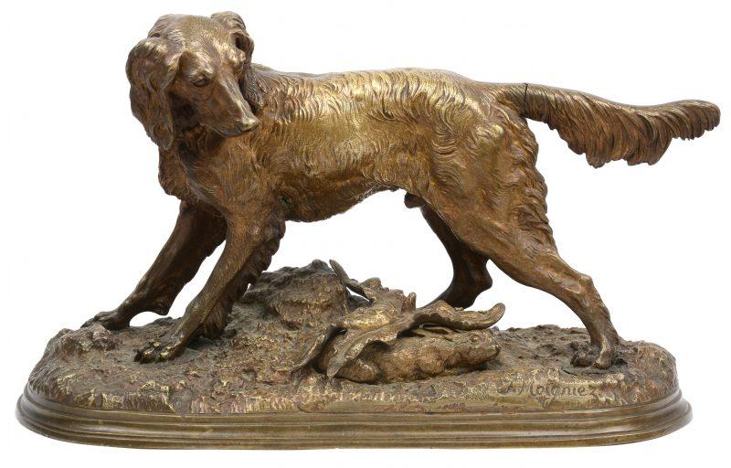 """""""Jachthond"""". Een bronzen beeld naar een werk van Jules Moigniez. Staart los."""