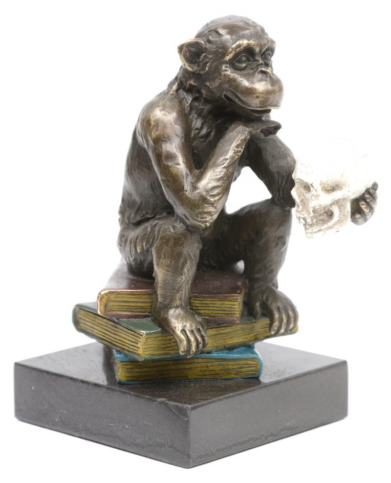 """""""Aapje met schedel"""". Een deels gepolychromeerd bronzen beeldje op arduinen sokkel. Naar een werk van Hugo Reinhold."""