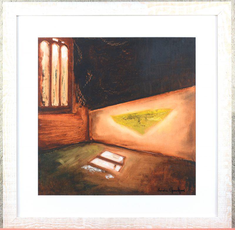 """""""Abstract interieur"""". Gemengde techniek op papier. Gesigneerd."""