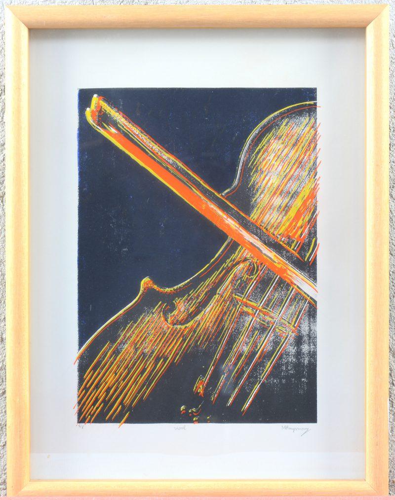 """""""Viool"""". Een lithografie achter glas. Gesigneerd, genummerd 8/8."""