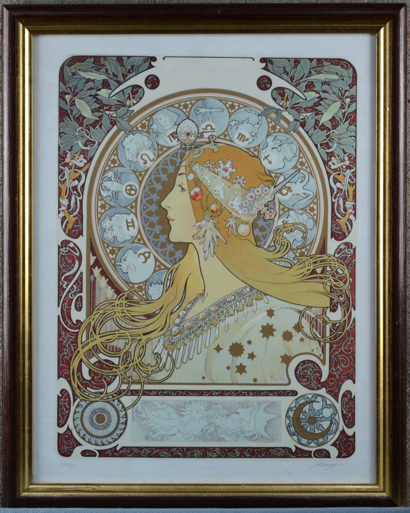 """""""Allegorie op de zodiak"""". Een lithografie naar een werk van Mucha. Door de uitgever gesigneerd en genummerd 221/250 buiten de plaat. Met droogstempel """"Beaux Arts de France U.S.A.""""."""