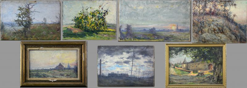 """Les chènes brulée de la Mare aux Dées""; Aux pays noir""; ""Zonsondergang in de polder""; ""Braambessen""; ""Kreupelhout""; ""Entrée du chateau à Louvain St-Anne"" & ""Avond in de polder"". Een lot van zeven olieverfschilderijtjes, waarbij vijf op paneel en twee op doek."