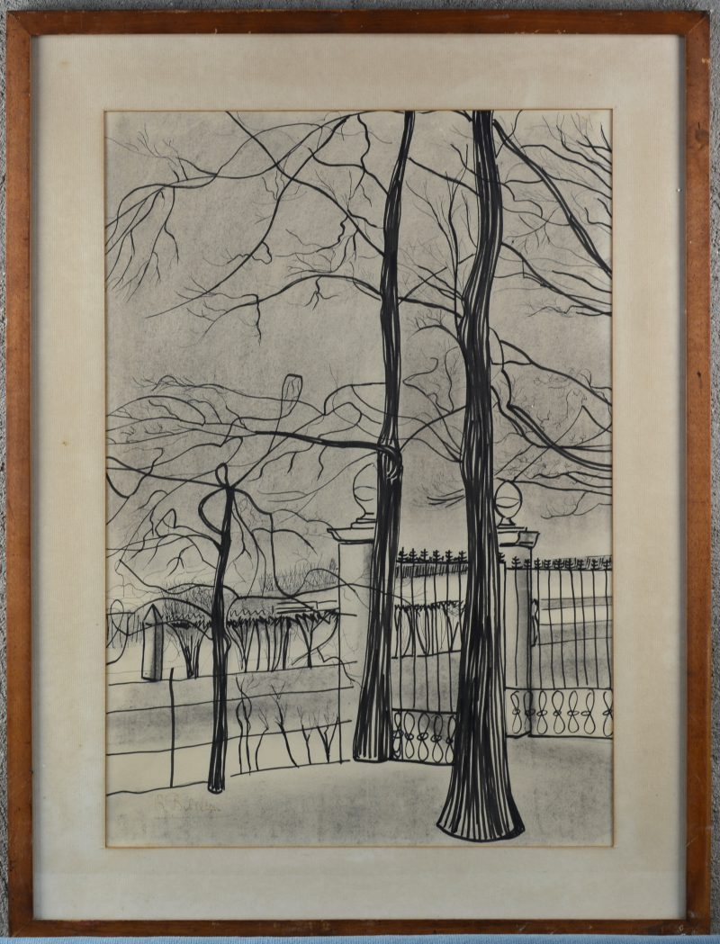 """""""Bomen bij een poort"""". Inkttekening op papier. Gesigneerd."""